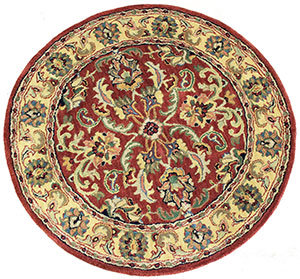 Red round area rug