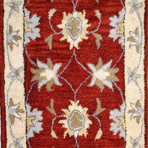 Traditional rugs with burgundy and beige